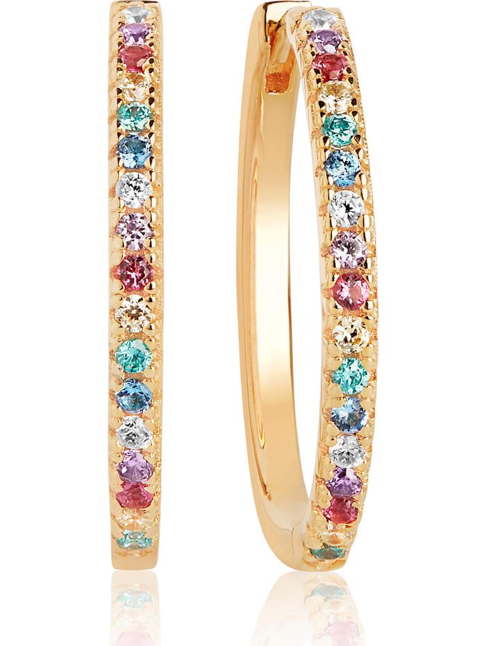 Sif Jakobs Sif Jakobs Jewellery Damen-Creolen 925er Silber Zirkonia, Gelbgold