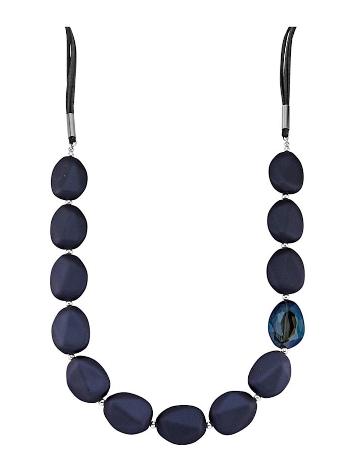 Halsband med blå glasstenar, Blå