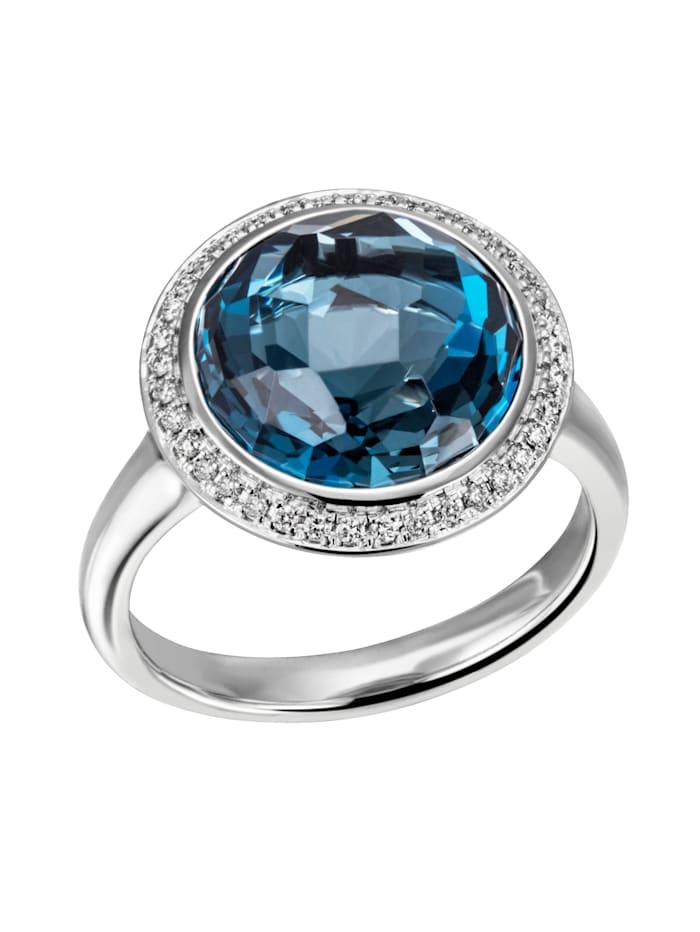 Amara Pierres colorées Bague Topaze London et brillants, Bleu