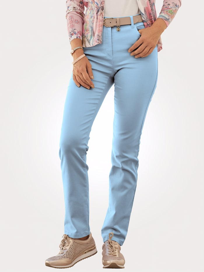 Relaxed by Toni Trousers made from cotton-rich stretch fabric, Light Blue
