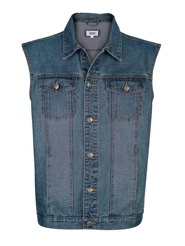 Roger Kent Jeansweste mit leichter Waschung, Blue stone
