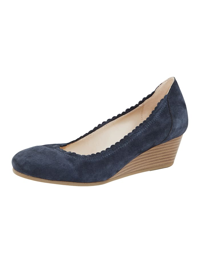 MONA Wedges with scallop trim, Blue