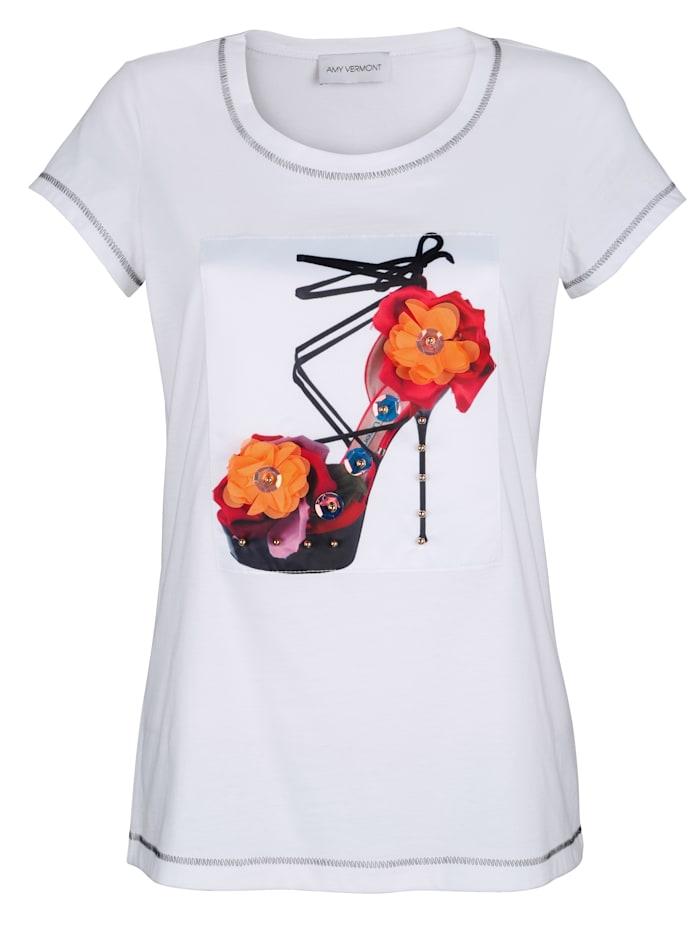 AMY VERMONT Shirt mit bedrucktem und dekoriertem Webeinsatz im Vorderteil, Weiß