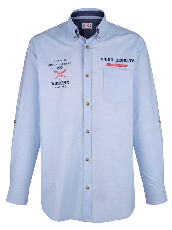 Roger Kent Skjorta med uppvikbara ärmar, Ljusblå
