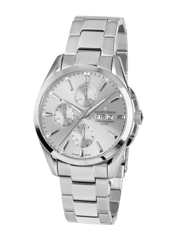 Jacques Lemans Herren-Uhr-Automatik-Chronograph Serie: Derby Automatic, Kollektion: Classic: 1- 1925F, Silberfarben