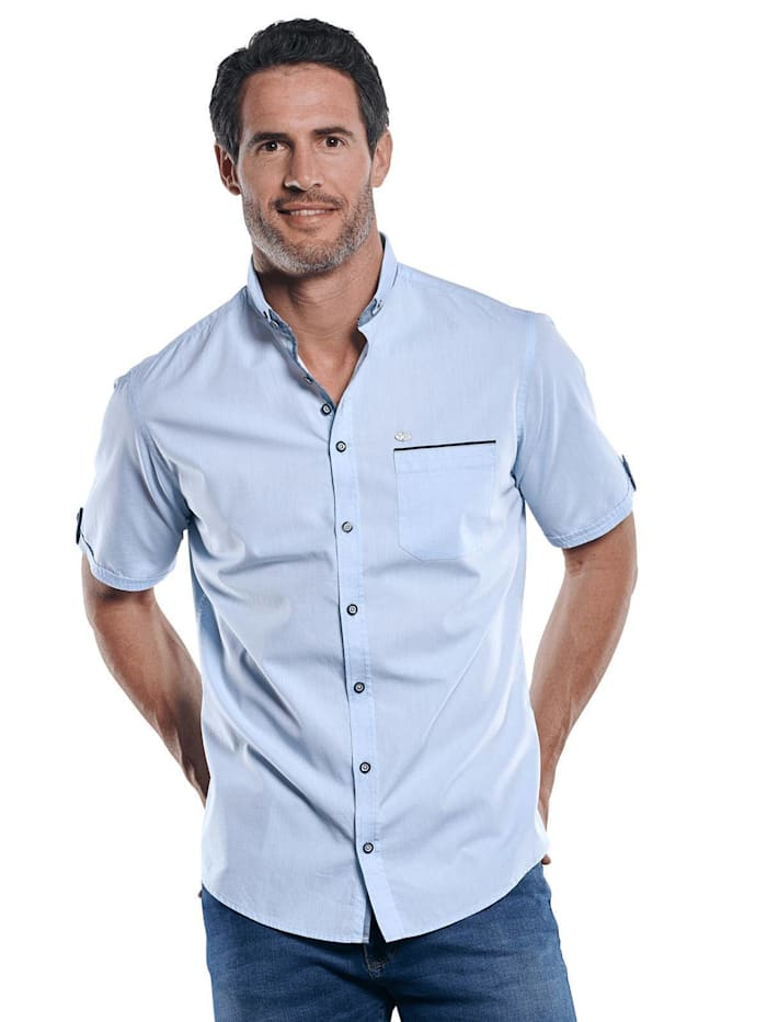 Engbers Unifarbenes Kurzarmhemd mit stylischen Kontrastdetails, Hellblau