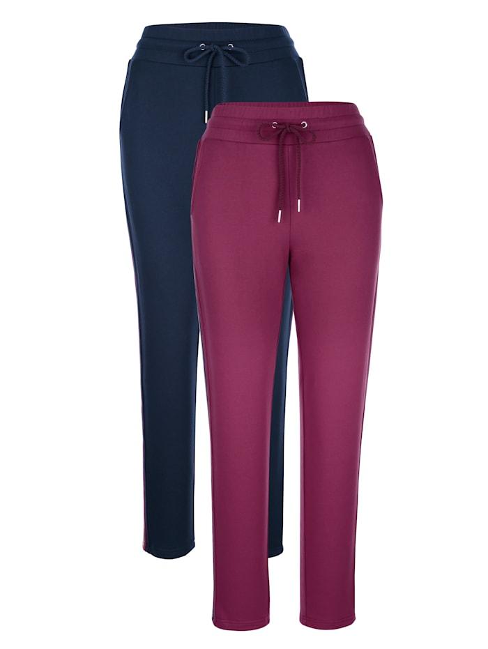 Harmony Pantalons de loisirs par lot de 2 à bandes contrastantes côtés, Marine/Bordeaux/Gris