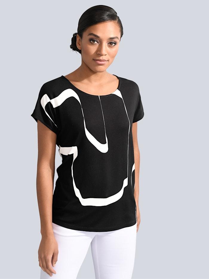 Alba Moda Shirt im grafischen Druck allover, Schwarz/Weiß