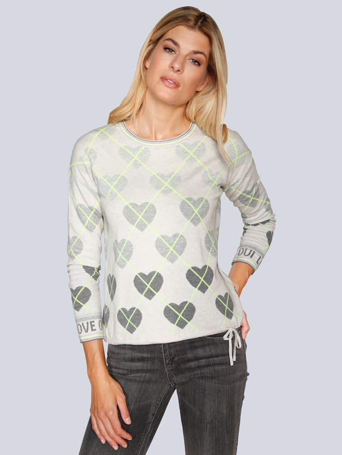 OUI Pullover mit Herzchen, Grau