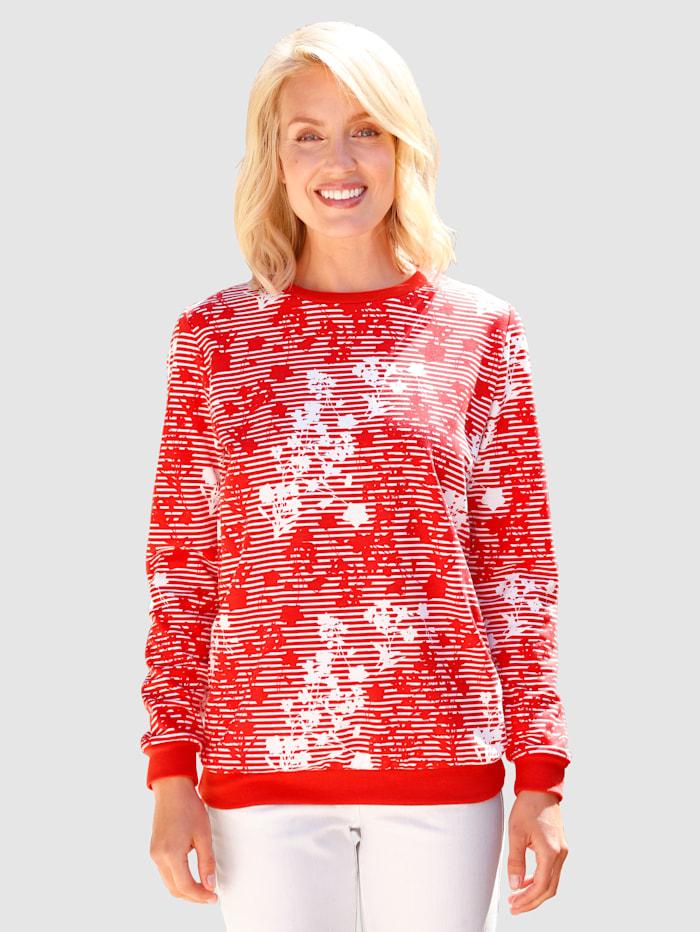 Paola Sweatshirt met modieus dessin, Rood
