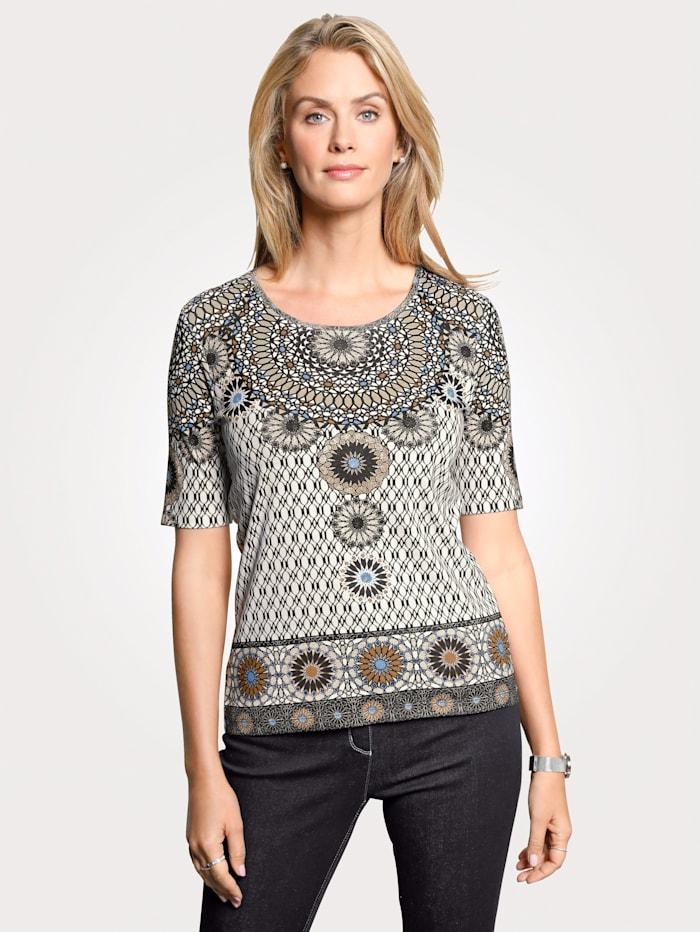 Olsen Shirt, Beige/Weiß/Blau
