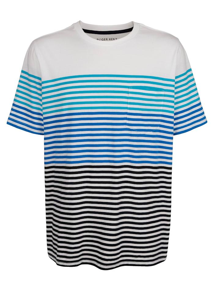 Roger Kent T-shirt à motif rayé tissé-teint, Blanc/Bleu/Turquoise