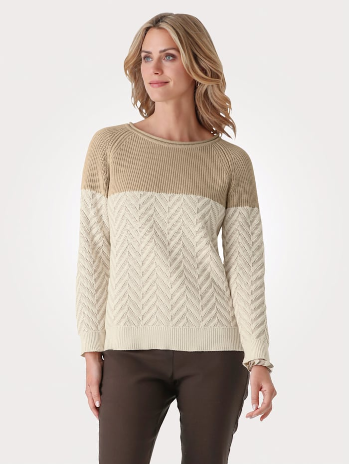 MONA Jumper with a chevron knit, Light Brown/Ivory