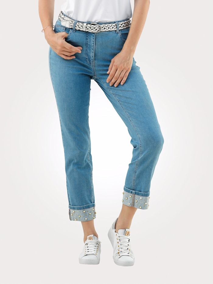 MONA Jeans with faux pearls, Blue