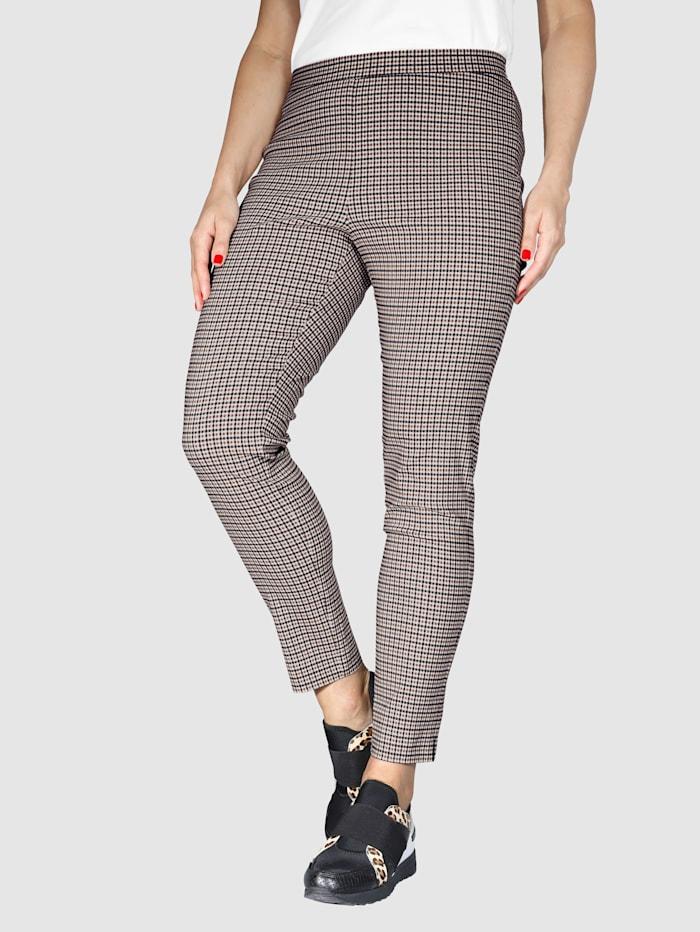 MIAMODA Pantalon en bengaline très extensible, Camel/Noir