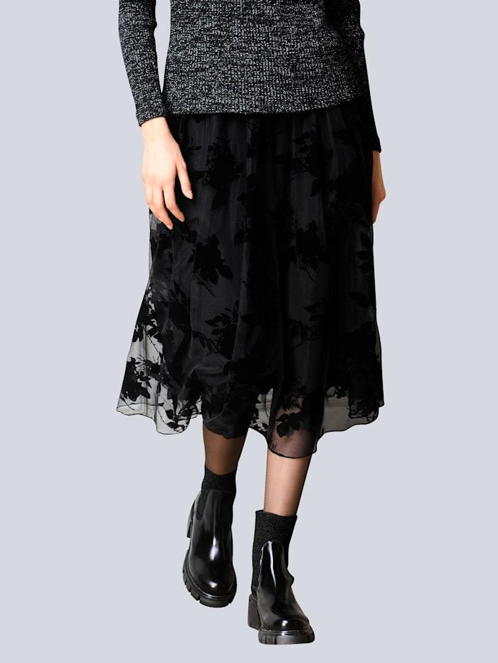 Alba Moda Rok met bloemendessin in 3D-look, Zwart