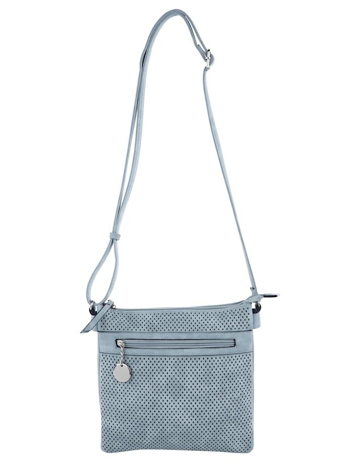 Taschenherz Schoudertas met trendy perforaties, Jeansblauw