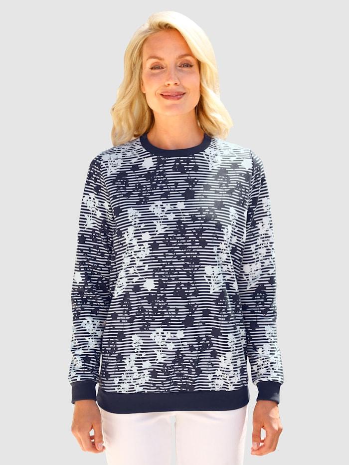 Paola Sweatshirt med trykt mønster, Marine