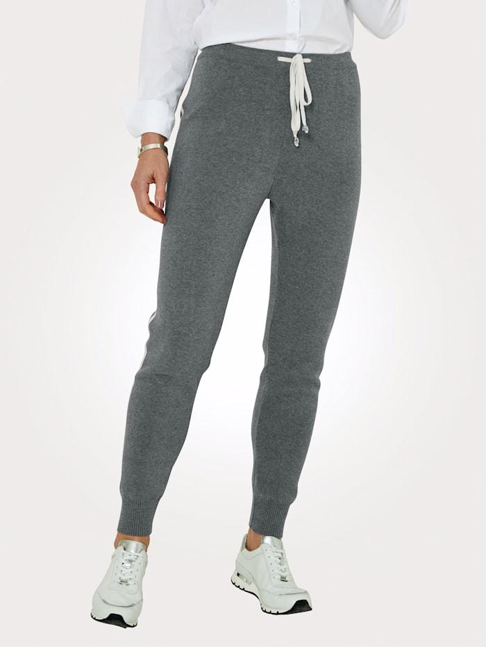 MONA Pantalon à rayures contrastantes en maille intarsia, Gris/Écru