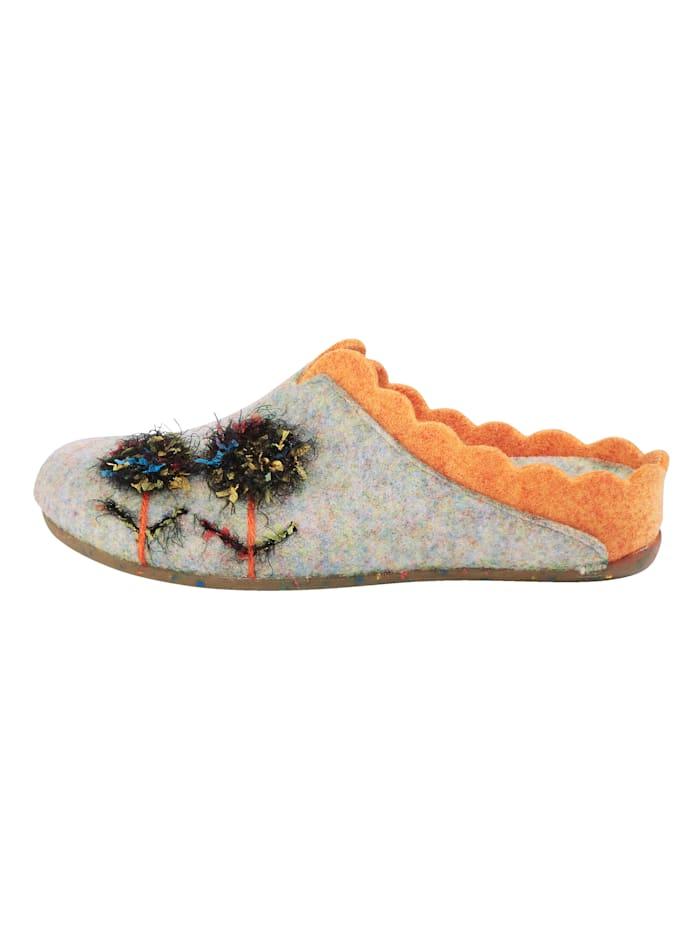Pantoffel mit rutschhemmender Gummilaufsohle