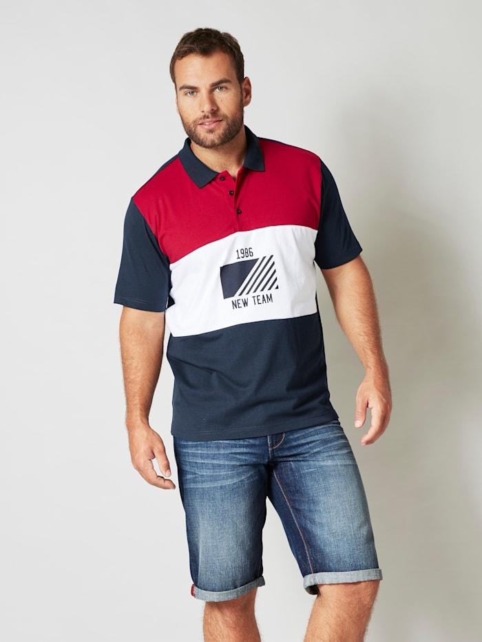 Men Plus Poloshirt van single jersey, Marine/Rood/Wit