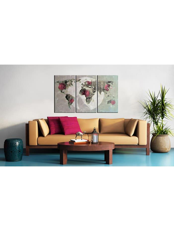 Wandbild Weltkarte: Vollmond - Triptychon