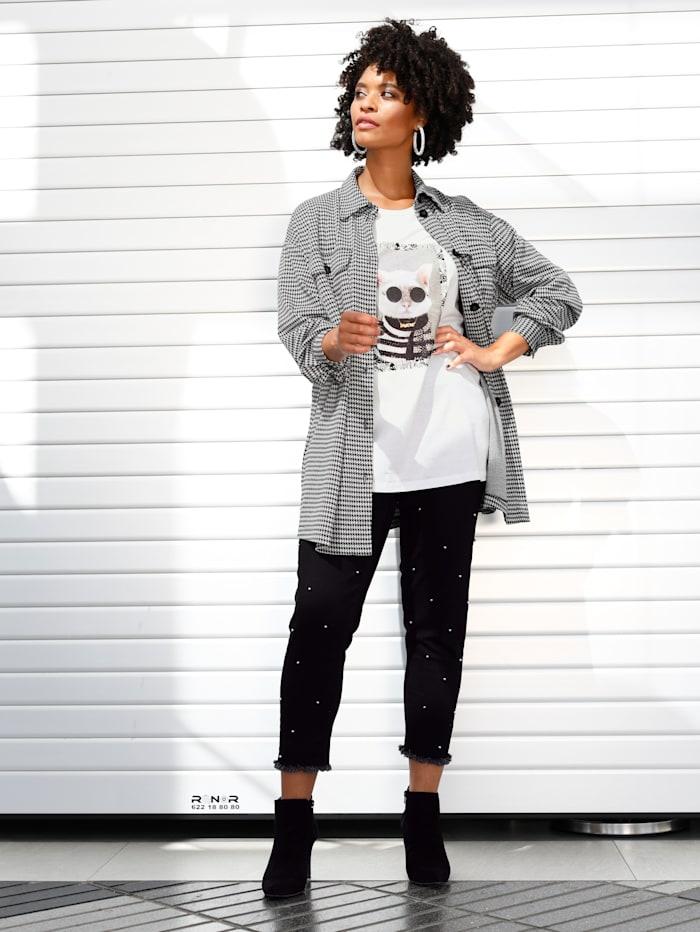 Angel of Style Überhemd mit grafischem Muster, Schwarz/Weiß