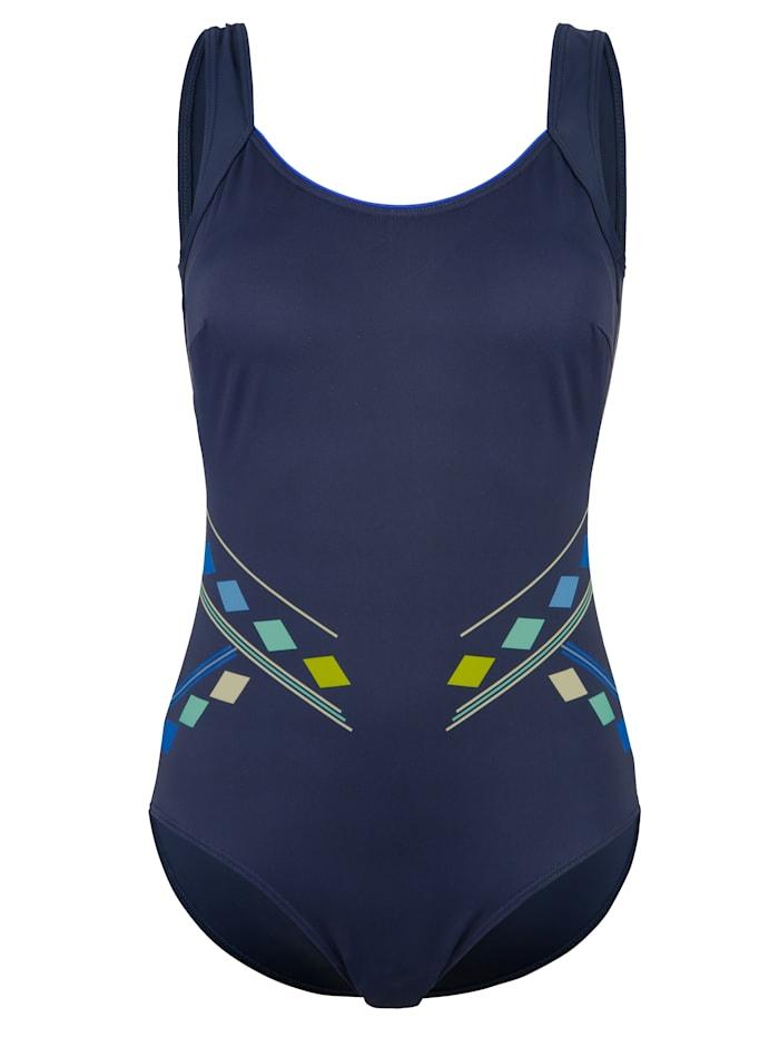 Maritim Badeanzug mit grafischem Druck-Motiv, Marineblau