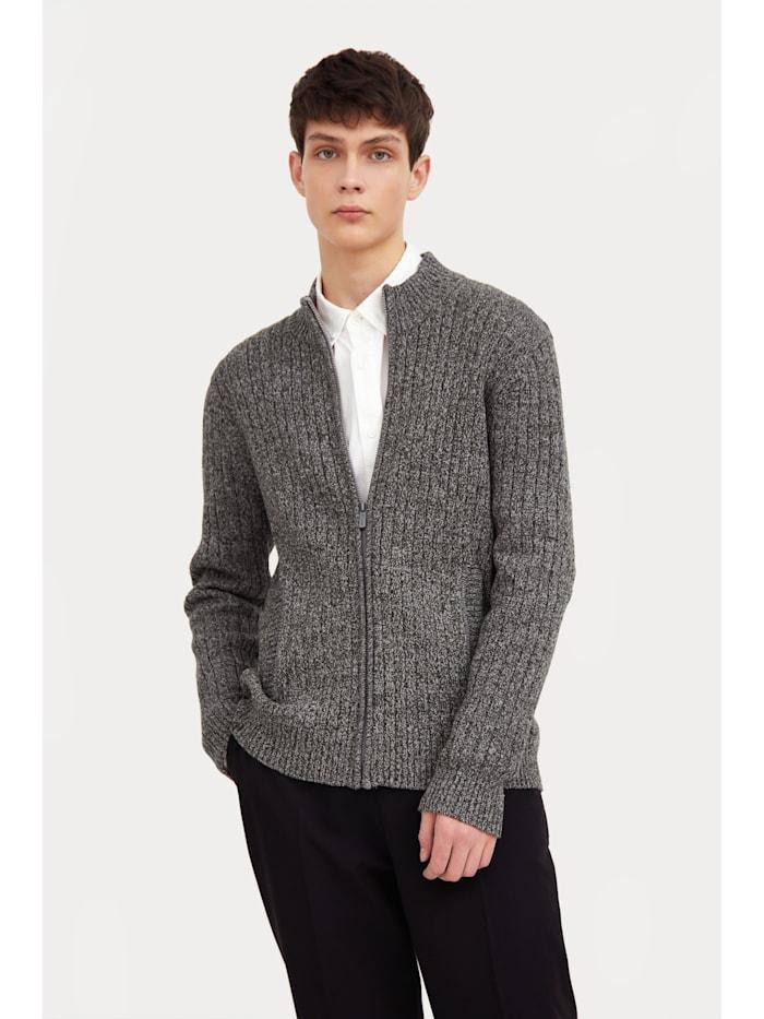 Finn Flare Strickjacke mit Reißverschluss, grey melange