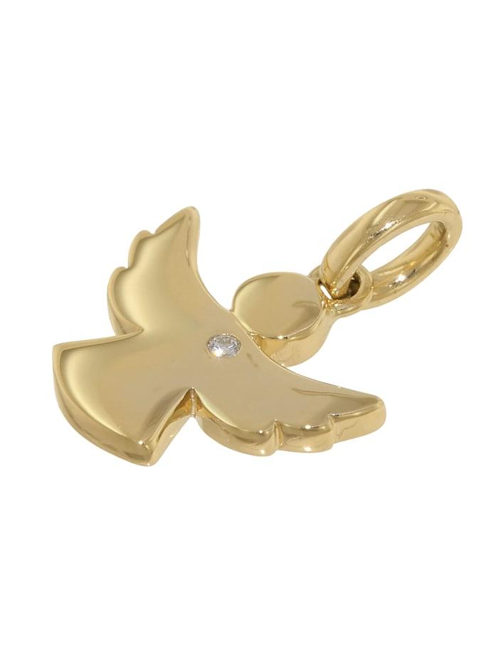 Engel Anhänger mit Diamant Gold 585 + plattierte Silberkette