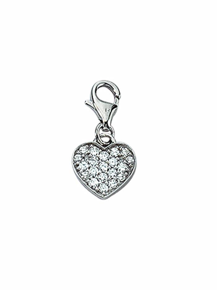 1001 Diamonds 1001 Diamonds Damen Silberschmuck 925 Silber Charms Anhänger Herz mit Zirkonia, silber