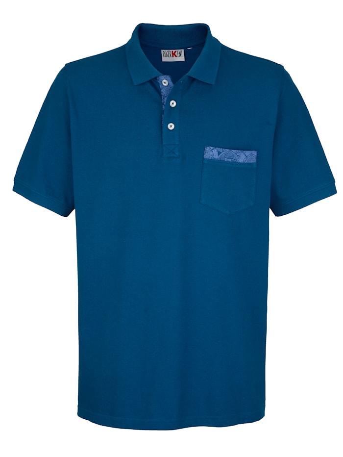 Roger Kent Poloshirt mit Paisleydruck-Details, Blau