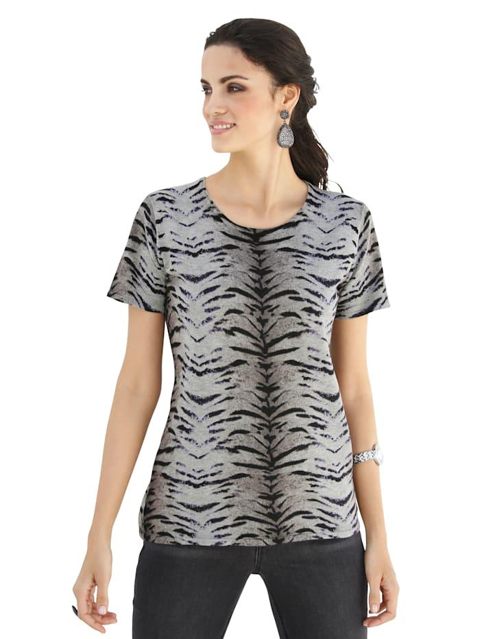 AMY VERMONT Strickshirt mit modischem Druck allover, Schwarz/Lila/Grau