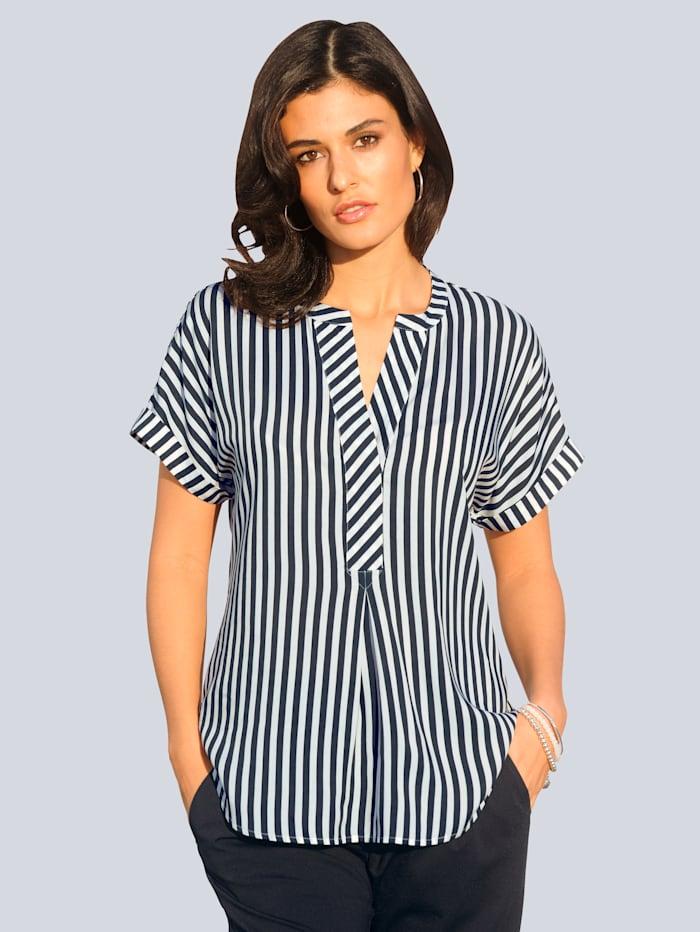 Alba Moda Blusenshirt allover im zweifarbigen Streifendessin, Marineblau/Weiß