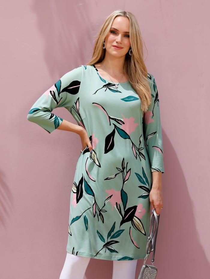 MIAMODA Longshirt met bloemenpatroon, Mint/Roze