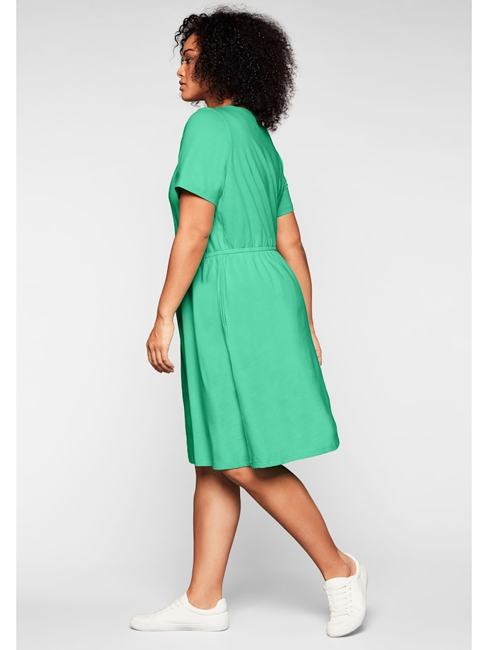 Sheego Jerseykleid mit Cut-out am Ausschnitt