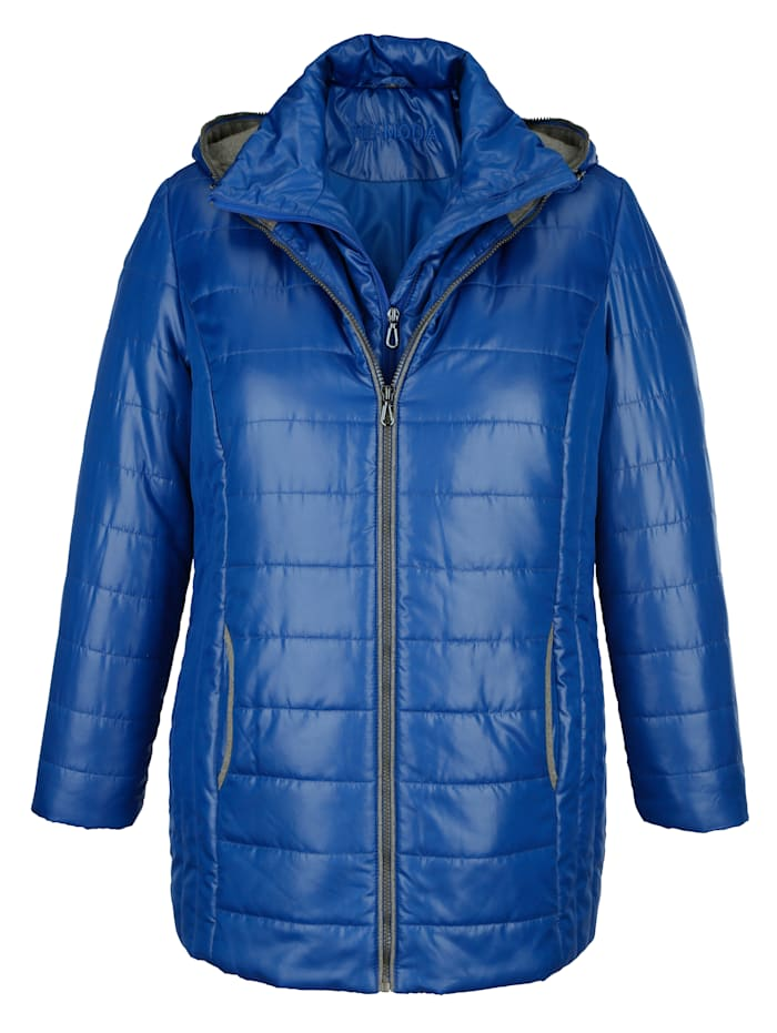 Prešívaná bunda s kapucňou a dekoratívnym zipsom