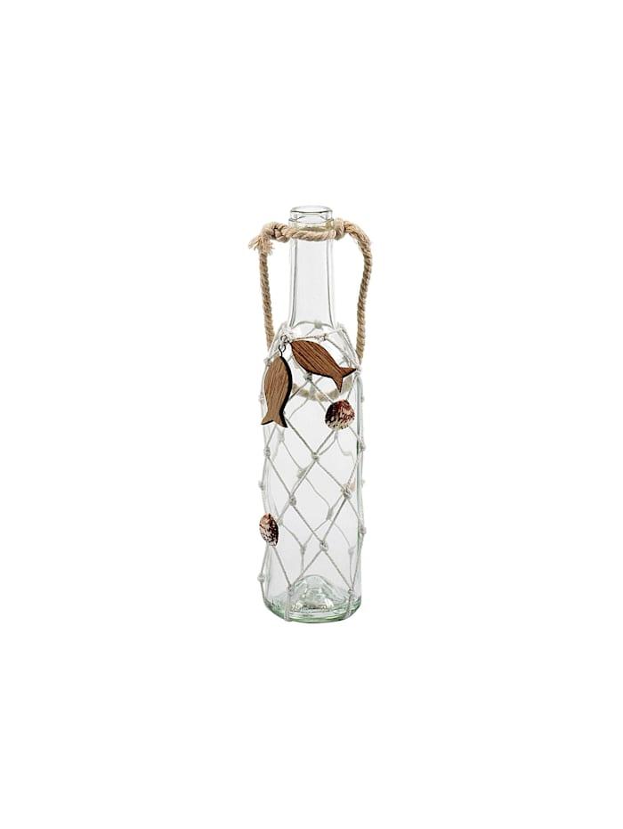 HTI-Living Dekoflasche mit Netz/Muscheln, Transparent