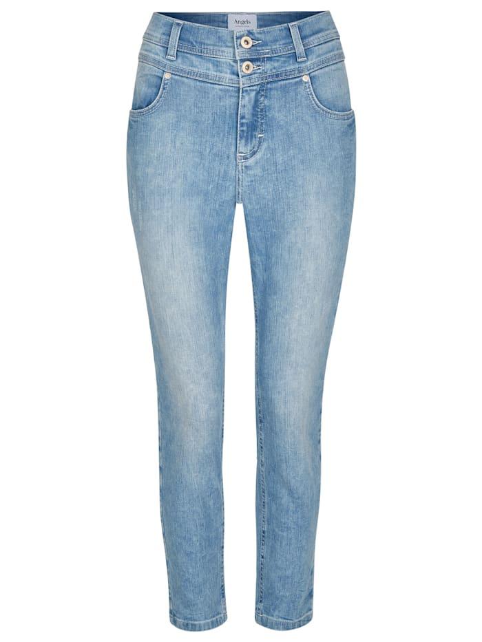 Angels Jeans 'Ornella Button' mit unifarbenem Stoff, light blue random used destroy