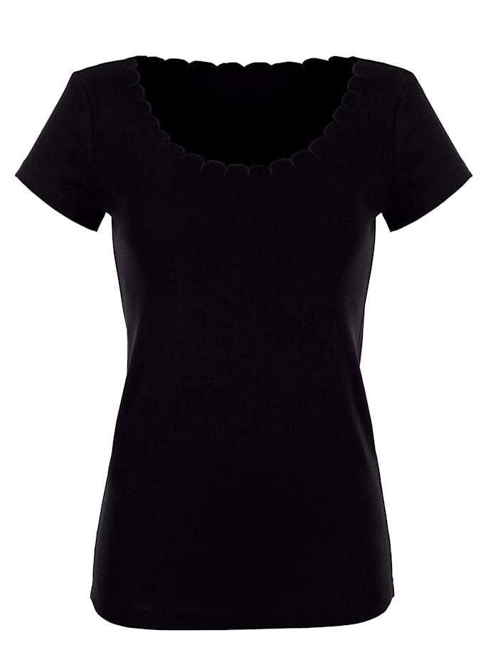 Blue Moon Blazershirt mit Wellenkante am Ausschnitt, schwarz