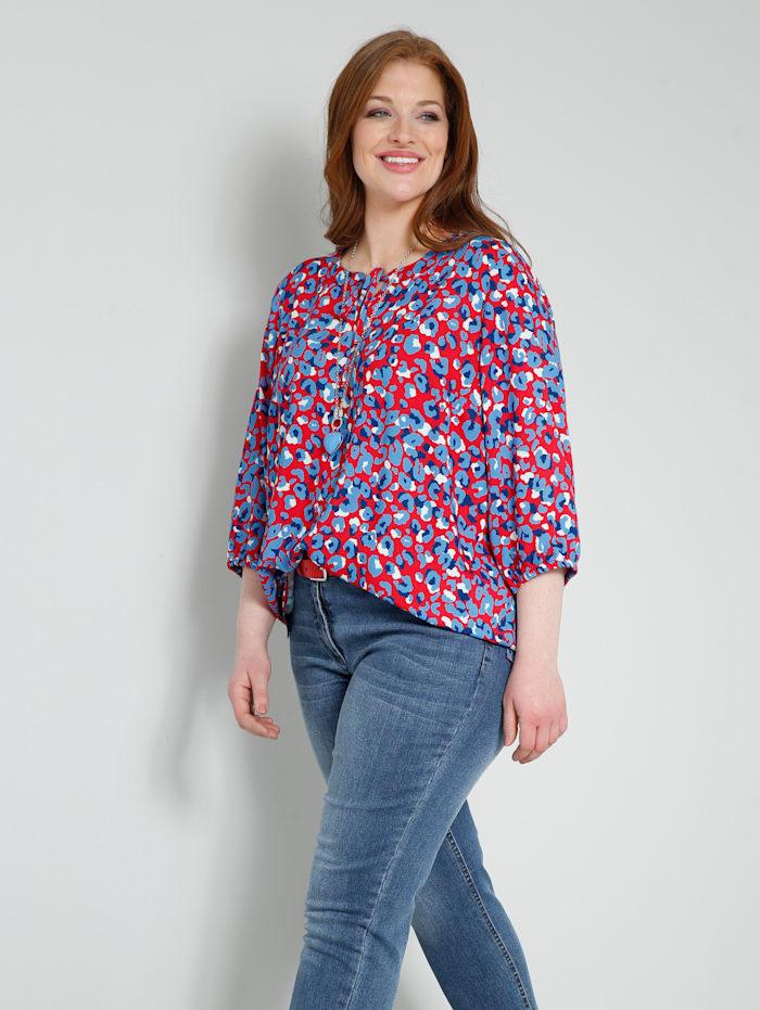 Sara Lindholm Bluse im angesagten Animal-Style, Rot/Blau
