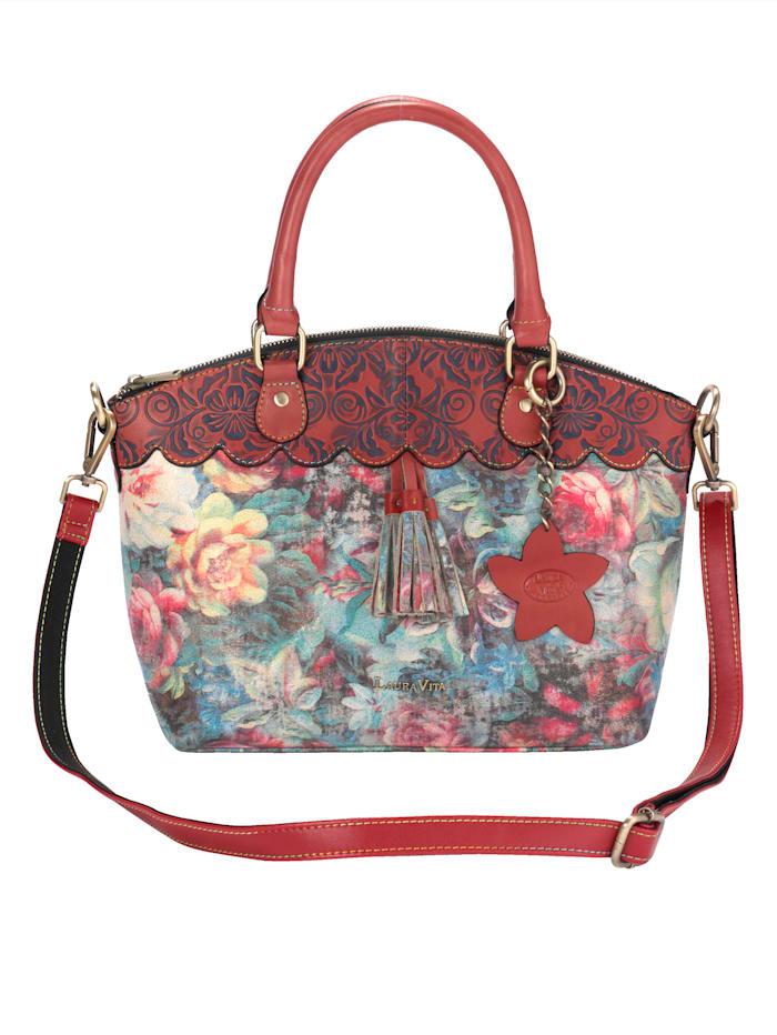 Laura Vita Handtasche in wunderschönem Blütenprint, Rot/Blau/Multicolor