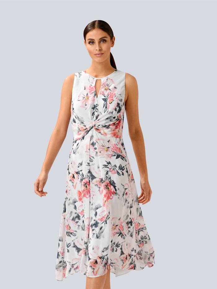 Alba Moda Kleid mit femininem Cut-Out am Ausschnitt, Weiß/Koralle/Gelb
