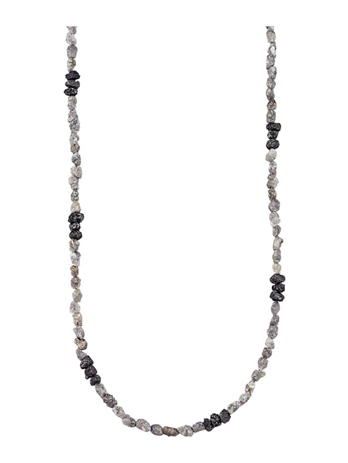 Diemer Atelier Rohdiamant-Kette mit Rohdiamanten, Grau