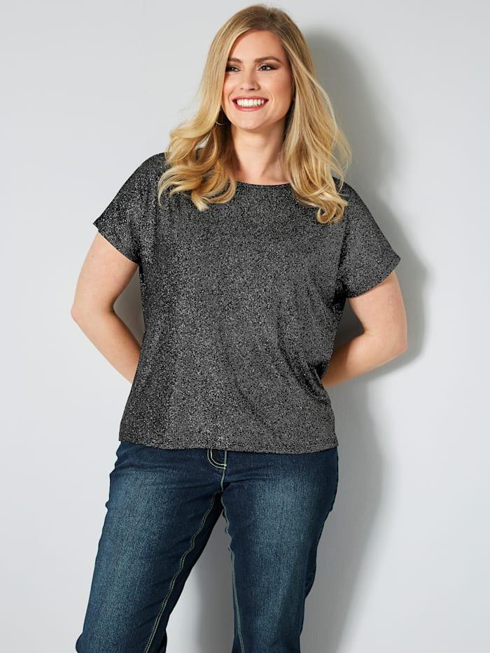 Sara Lindholm Shirt mit Glitzerdruck, Schwarz/Silberfarben