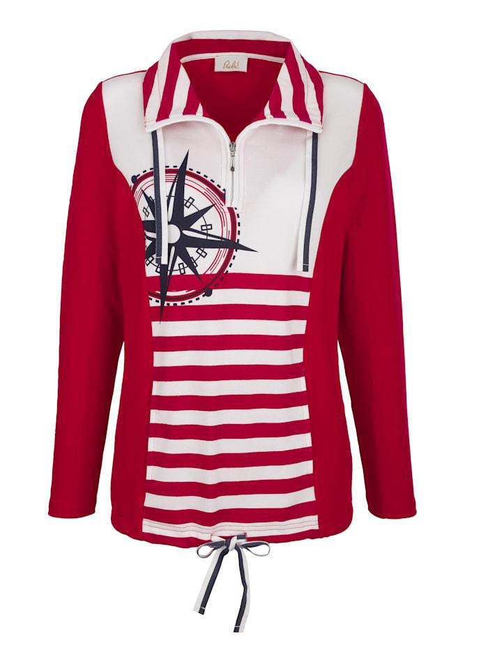 Paola Sweat-shirt à imprimé rayé placé, Blanc/Rouge/Marine
