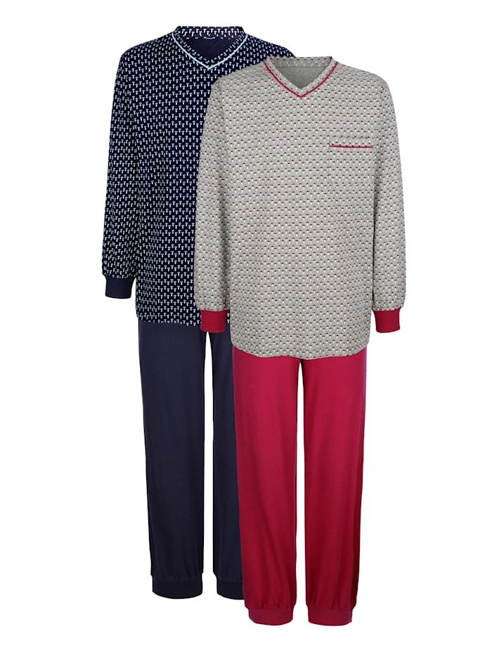 """Roger Kent Pyjamas par lot de 2 en coton issu de l'initiative """"Cotton made in Africa"""", Marine/Bordeaux"""