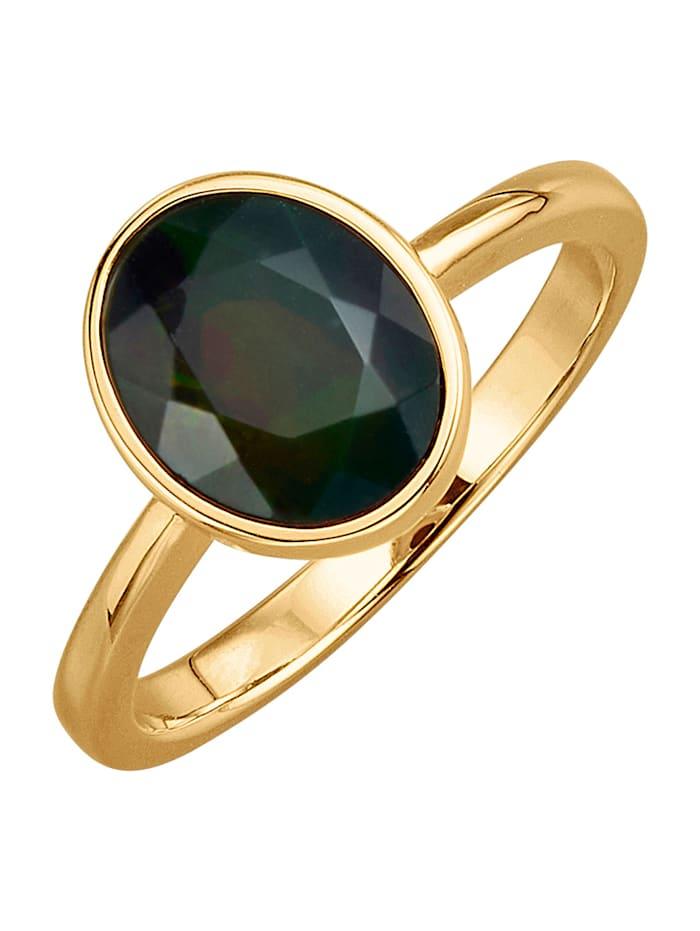 Diemer Farbstein Damenring mit schwarzem Opal, Schwarz