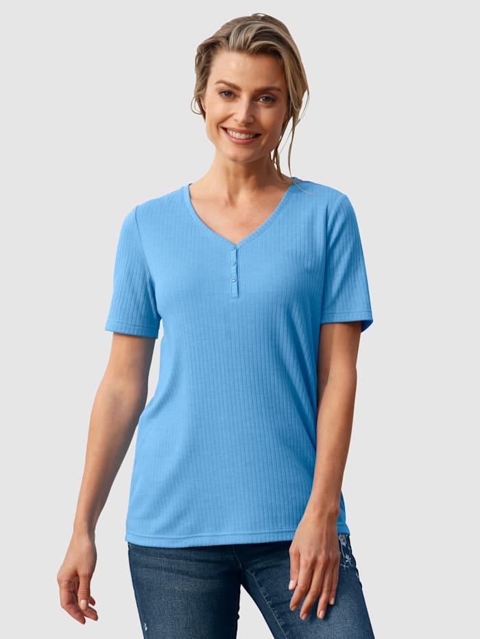 basically you Shirt in Rippenoptik, Blau