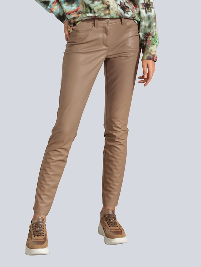 CAMBIO Hose aus veganem Lederstretch, Camel